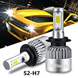 ALUNAR H7 LED Headlight Bulbs Conversion Kits Single Beam Auto Headlamp Infitary Car Headlight 72W 6500K 8000LM Super Bright COB Chips (Color: silver, Tamaño: S2 H7)