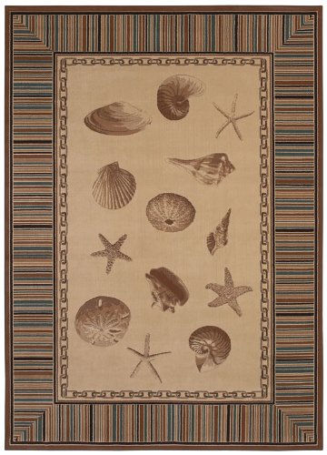 Kathy Ireland Ohana Paradise Islands Jewels Beige Seashell Rug 3.11 x 5.40.