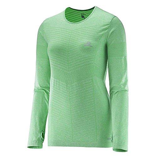 Salomon Ml Elevate Seamless Ls Tee W - Maglietta da donna, colore Verde, taglia M