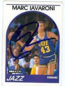 Marc Iavaroni Autographed Hand Signed Basketball Card (Utah Jazz) 1989 Hoops #142 by Hall of Fame Memorabilia