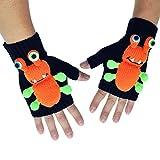 Angelina 3D Monster Winter Knit Fingerless Gloves #1990N_Orange
