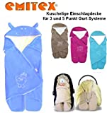 Emitex MULTI - Spring / Summer / Autumn -- NO UNTHREADING of Seat Belts -- Swaddling Wrap, Car Seat and Pram Blanket, Universal for Car Seat (e.g., Maxi-Cosi, Römer, etc.), for Pram, Buggy or Baby Bed -- BLUE