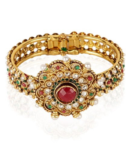 Shining Diva Kundan Studded Adjustable Floral Bracelet For Women (multicolor)