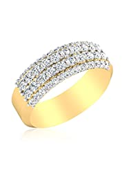 IskiUski Sparkling Sterling Silver 14kt Gold Plated Round Cubic Zirconia Ring For Men