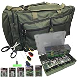 Cravog Carp Fishing Large Carryall Holdall Tackle Bag + Tackle Box & Termial Tackle Set (Green)