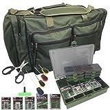 Cravog Carp Fishing Large Carryall Holdall Tackle Bag + Tackle Box & Termial Tackle Set (Green)
