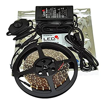 LEDwholesalers 5m (16.4ft) Single Color 300x3528SMD LED Strip Kit with Inline Dimmer and Power Supply, Warm White 3100K, 2026WW-31K+3318+3228