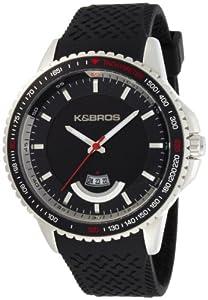 Buy K&BROS Mens 2760510 Steel Overland Stainless Steel Black Rubber Watch by K&Bros
