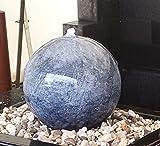 Kugelbrunnen 50 cm Marmor blau Edelstahl Komplettset Kugel Wasserspiel