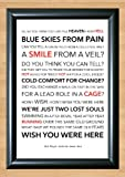 Pink Floyd 'Wish You Were Here' Lyrical Song Print Poster Art A4 Size (Typography)