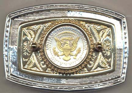 Reverse Kennedy Half Dollar (1970 - Date) Two Tone U.S. Coin Belt Buckle (Eagle, Banner and Stars in Gold)