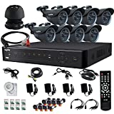 SANNCE Microphone Audio Portable Mini Speaker Cable System Home 8CH CCTV DVR Day Night 8-800TVL Security Camera Surveillance System Kit with 1TB HDD Built-in IR-Cut ( Silver )