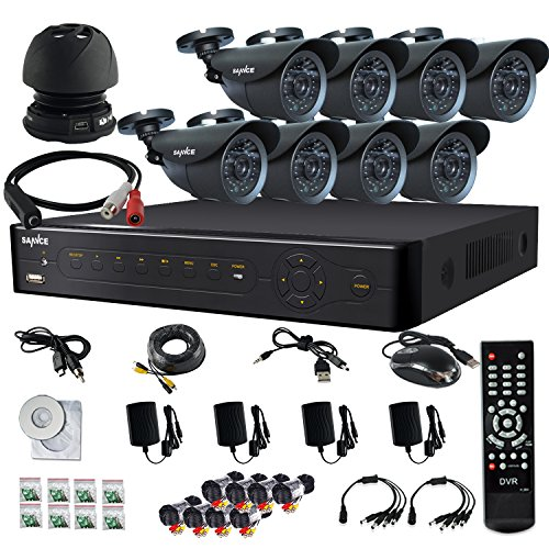Sannce Microphone Audio Portable Mini Speaker Cable System Home 8Ch Cctv Dvr Day Night 8-800Tvl Security Camera Surveillance System Kit With 1Tb Hdd, Built-In Ir-Cut ( Silver )