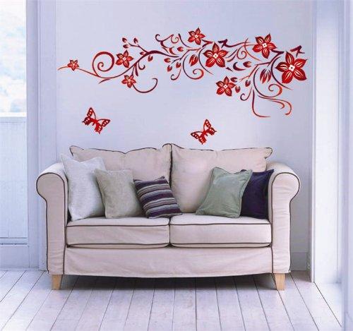 Ufengke® fiore rosso della vite e farfalle adesivi murali, camera ...