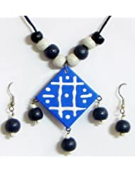 Hand Painted Blue Square Paper Pendant And Earrings With Wooden Beads - Paper And Wooden Beads