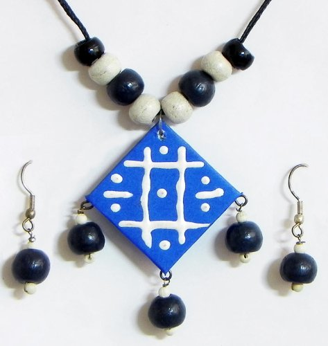 Hand Painted Blue Square Paper Pendant and Earrings with Wooden Beads  Paper and Wooden Beads