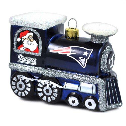 NFL New England Patriots Blown Glass Train Ornament