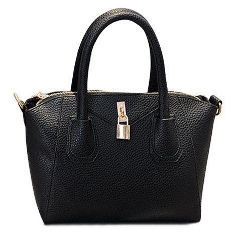 Dress Women'S Shoulder Bag With Gold Lock And Solid Color Design-Black