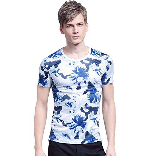 FANZHUAN Uomo Estate Nuovo Arrivo T-Shirt Maglietta Maniche Corte Stampa Slim Moda Casual