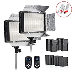 Tolifo PH-680S 40W 5600K 680 LED Video Studio Light Panel with Battery Pack, 2.4G Wireless Remote Control 99 channels for Digital SLR Camera Camcorder - Pack of 2
