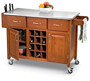 Kitchen Island Cart With Stainless Steel Top Cherry Finish Amazon Home Kitchen