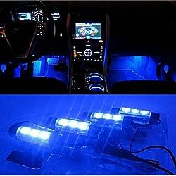 BreaDeep 4X3 LED Atmosphere Lights 12V Car Auto Interior Decorative 4in1 Lamp Blue