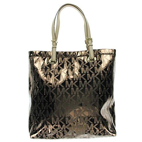 Details for Michael Kors Cocoa MK Mirror Metallic NS Tote Shoulder Bag Handbag Purse