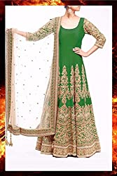 Snapyshopy Wonderful Green Colord Fully Embroidered Banglori Silk Anrkali Suit