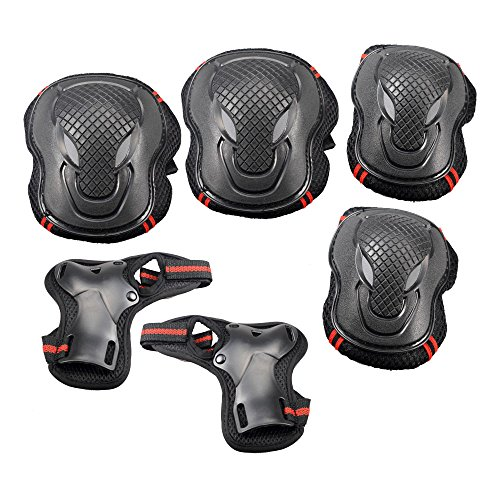 Kevenz Sports Protective Gear Safety Pad Safeguard (Knee Elbow Wrist) Support Pad Set Equipment for Adult Roller Bicycle BMX Bike Skateboard Extreme Sports Bogu Protector Guards Pads(small Size)