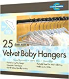 Closet Complete Baby Size Ultra Thin No Slip Velvet Hangers, Baby Powder Blue, Set of 25