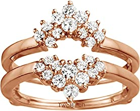 10k Gold Double Row Prong Set Ring Guard with Charles Colvard Created Moissanite 03 ct twt
