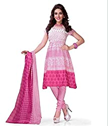 Pink Cotton Printed Dress Material