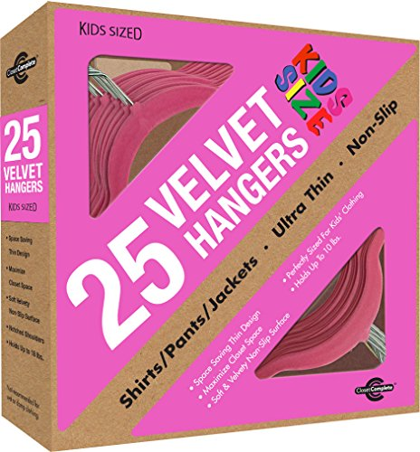 Closet Complete Kid Size Ultra Thin No Slip Velvet Hangers, Pink, Set of 25