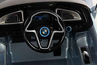 LICENSED BMW I8 CONCEPT NEW DESIGN WHITE 12V TWIN MOTORS KIDS RIDE ON CAR WITH 4 WYAS PARENTAL REMOTE CONTROL + mp3 input + lcd lights + 2 speed option. (BMW I8 WHITE)