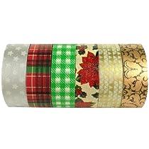 Wrapables Christmas Collection Japanese Washi Masking Tape for SET03, Set of 6