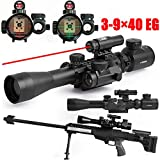 Vokul® Tactical 3-9x40mm Illuminated Rifle Scope with Red Laser & Red Dot Sight of Red / Green Reticle Mount
