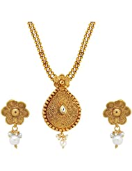 Om Jewells Traditional Ethnic Kundan Floral Paisley Necklace Set With Pearl Drop PS1000713