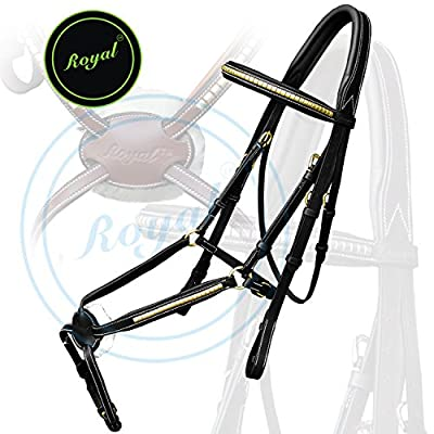 Royal Brass Clincher Grackle Bridle with PP Rubber Grip Reins./ Vegetable Tanned Leather./ Brass Buckles.