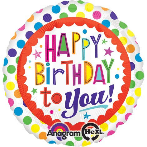 Anagram International Hx Birthday to You Dots Balloon, Multicolor
