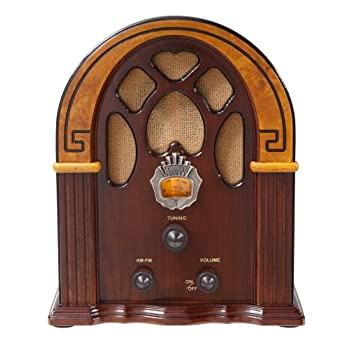 Crosley CR31-WA Companion Retro AM/FM Radio with Full-Range Speaker, Walnut & Burl