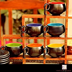 Multicolored Ceramic Cup Saucer(Set of 6)