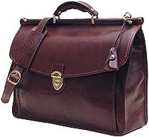 Firenze Dowel Messenger Brief in Brown Italian Calfskin Leather by Floto