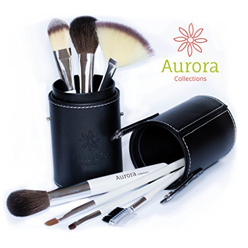 Details for Makeup Brush Set with Case by The Aurora Collections, LIFETIME WARRANTY! - Professional, Shed Proof Customized Natural & Synthetic Brushes Ideal for Blending Liquid Foundation & Contour Techniques + Cosmetic Case Perfect for Travel, 8 Pc Kit - Make Up Lik
