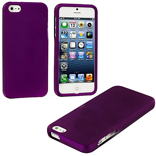 Mylife (Tm) Purple Flat Series (2 Piece Snap On) Hardshell Plates Case For The Iphone 5/5S (5G) 5Th Generation Touch Phone (Clip Fitted Front And Back Solid Cover Case + Rubberized Tough Armor Skin + Lifetime Warranty + Sealed Inside Mylife Authorized Pac