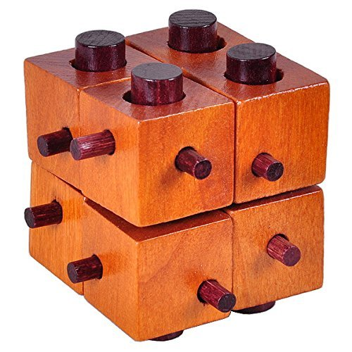 KINGOU Wooden Eight Squares Puzzle Burr Puzzles Brain Teaser Intellectual Jigsaw Toy Magic Cube