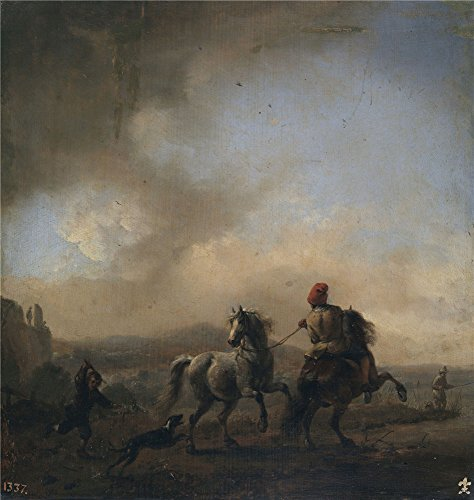 the-high-quality-polyster-canvas-of-oil-painting-wouwerman-philips-caballos-asustados-por-un-perro-c