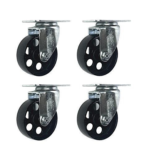 4 All Steel Swivel Plate Caster Wheels w Brake Lock Heavy Duty High-gauge Steel 1500lb total capacity (3