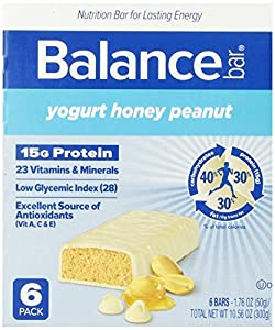 Balance Bar, Yogurt Honey Peanut, 1.76 oz Bars, (Pack of 6)