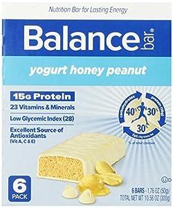 Balance Bar, Yogurt Honey Peanut, 1.76 oz Bars, (Pack of 6)