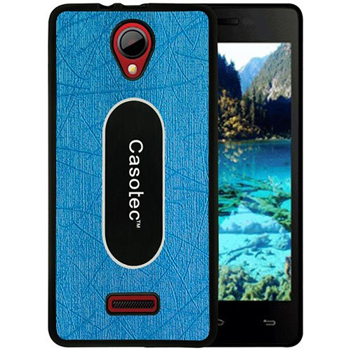 Casotec Metal Back TPU Back Case Cover for Micromax Canvas Fun A76 - Sky Blue  available at amazon for Rs.199